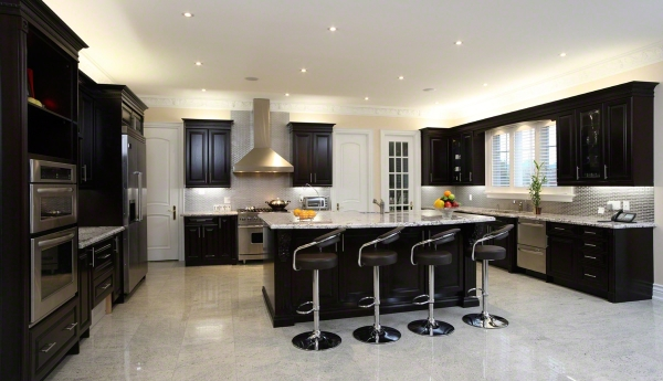 modern-four-bar-stool-with-black-leather-and-stainless-steel-legs-material-kitchen-island-marble-floor-also-masculin-black-kitchen-set-furniture