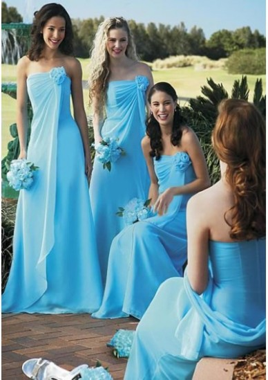Floor-Length Chiffon Charmeuse Bridesmaid Dresses