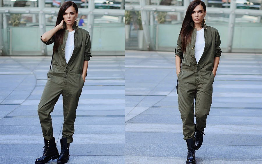 Army Green Jumpsuit Overalls Street Style Fashion Blogger
