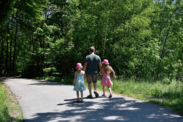 Away Hiking Family Father Walk Children Nature